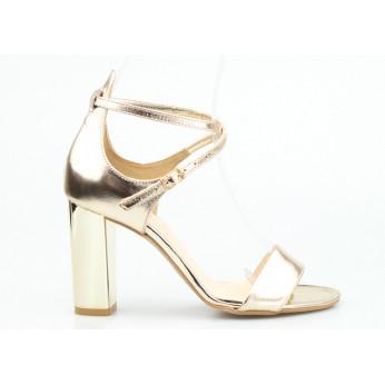 Sandały Na Lustrzanym Słupku Skórzane Złote Santini