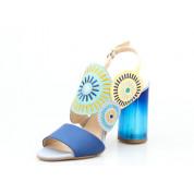 Sandały z Okrągłymi Ozdobami Skórzane Granatowe Zefiryna