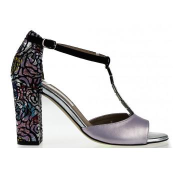 d1c9b21e06192 Sandały Skórzane z Ozdobnym Paseczkiem Mozaikowe Fioletowe Laomedea