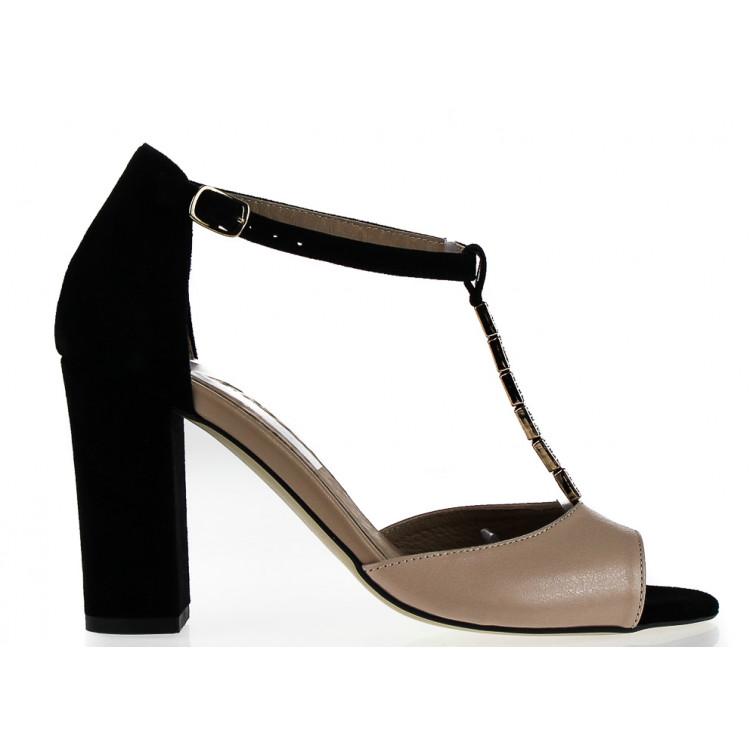 963cd00d17040 New Sandały Skórzane z Ozdobnym Paseczkiem Zamszowe Beżowe Czarne Laomedea