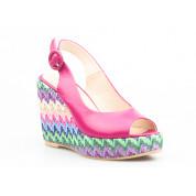 Sandały na Kolorowym Plecionym Koturnie Skórzane Fuksjowe Stasia