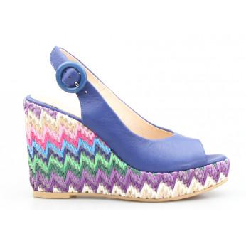 Sandały na Kolorowym Plecionym Koturnie Skórzane Granatowe Stasia
