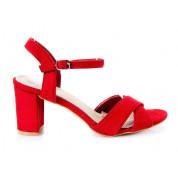 Sandały Na Słupku z Klamerką Czerwone Cross Girdle