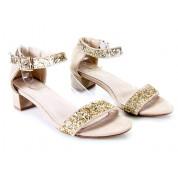 Sandały Ze Złotym Brokatem Beżowe Illuminate