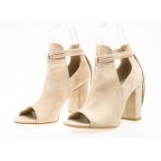 Sandały Zabudowane Wiązane Beżowe Lorna