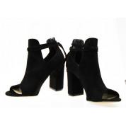 Sandały Zabudowane Wiązane Czarne Lorna