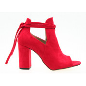 Sandały Zabudowane Wiązane Czerwone Lorna