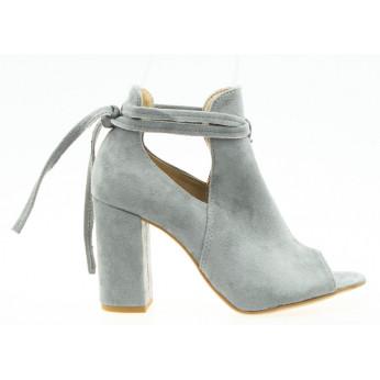 Sandały Zabudowane Wiązane Popielate Lorna