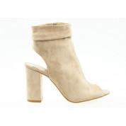 Sandały Zabudowane Open Heel Beżowe Liwia