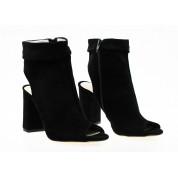 Sandały Zabudowane Open Heel Czarne Liwia