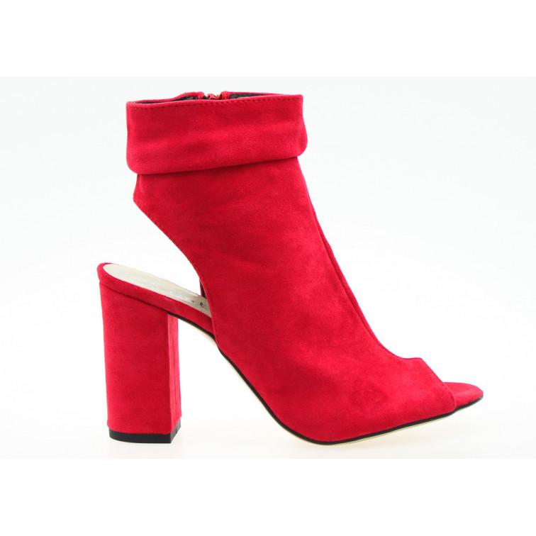 Sandały Zabudowane Open Heel Czerwone Liwia