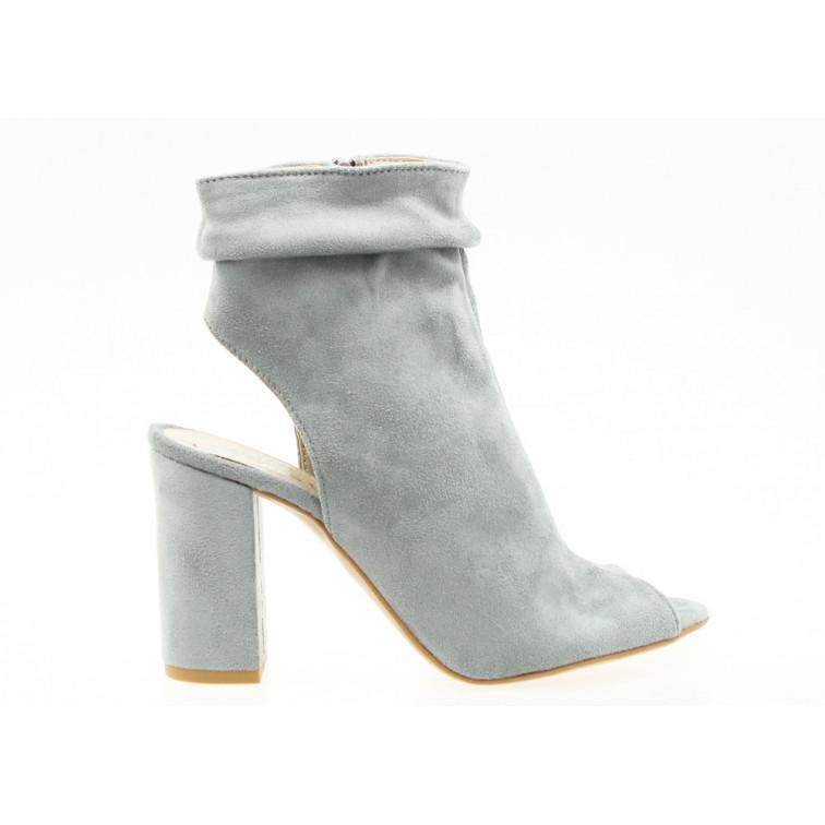 Sandały Zabudowane Open Heel Popielate Liwia