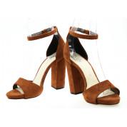 Sandały Na Słupku Zamszowe Rude Mary Lou