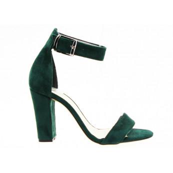 Sandały Zamszowe z Klamrą Ciemnozielone Tina