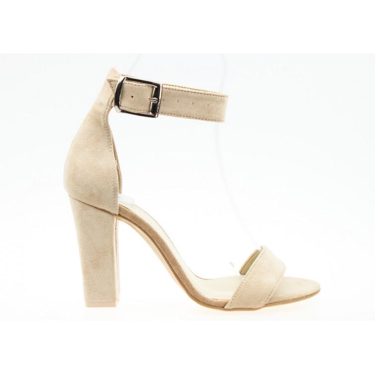Sandały Zamszowe z Klamrą Beżowe Tina