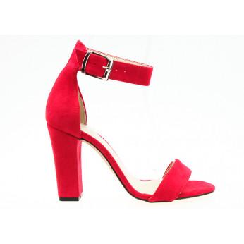 Sandały Zamszowe z Klamrą Czerwone Tina