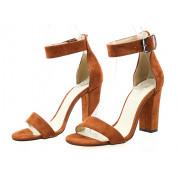 Sandały Zamszowe z Klamrą Rude Tina
