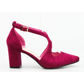 Sandały z Odkrytymi Bokami Zamszowe Fuksjowe Bridget