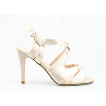 Sandały Na Szpilce z Klamerką Mieniące Się Złote Copacabana V2