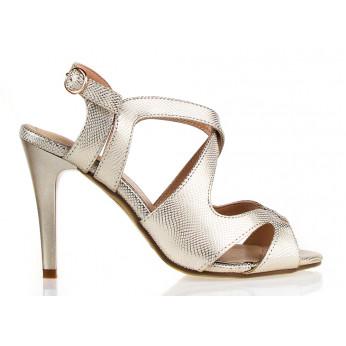 Sandały Na Szpilce z Klamerką Złote Copacabana