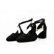 Sandały z Odkrytymi Bokami Zamszowe Czarne Brigitte V2