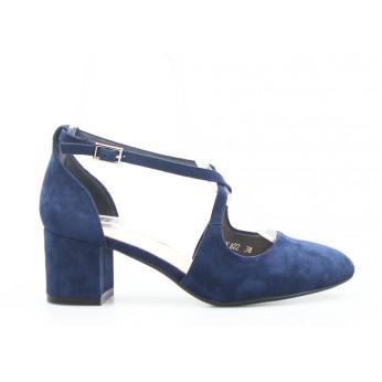 Sandały z Odkrytymi Bokami Zamszowe Granatowe Brigitte V2