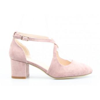Sandały z Odkrytymi Bokami Zamszowe Różowe Brigitte V2