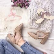 Sandały z Odkrytymi Bokami Zamszowe Beżowe Brigitte