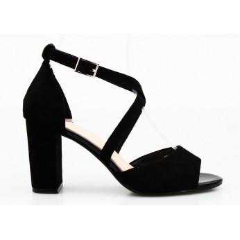 Sandały Na Słupku Zamszowe Czarne Pelagia