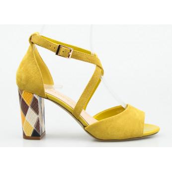 Sandały Na Słupku Zamszowe Żółte Pelagia