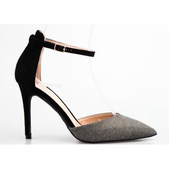 Sandały z Błyszczącym Noskiem Czarne Double Trouble