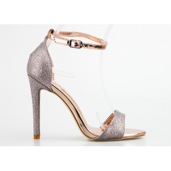 Sandały Brokatowe z Fakturą Szampańskie Sabrina