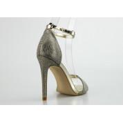 Sandały Brokatowe z Fakturą Złote Sabrina