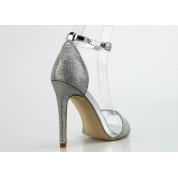 Sandały Brokatowe z Fakturą Srebrne Sabrina