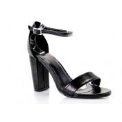 Sandały Z Klamerką Eko Skórzane Czarne Lamia