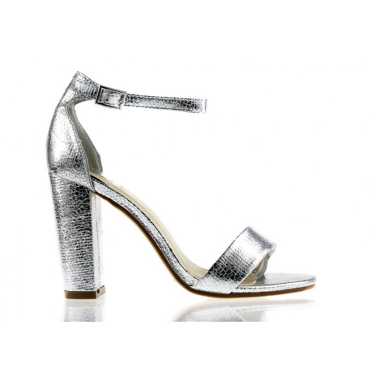 Sandały Z Klamerką Eko Skórzane Srebrne Lamia