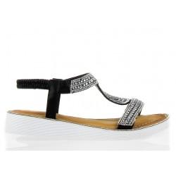 Sandały Na Platformie z Cyrkoniami Czarne Kleopatra