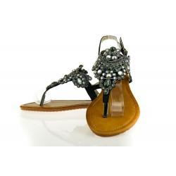 Czarne Sandały Japonki z Kryształami Shiny