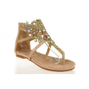 Szampańskie Sandały Gladiatorki z Kryształami Dimonds