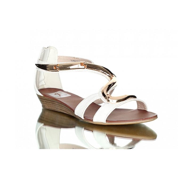 bde2788231f434 -29% Na zamówienie Białe sandały ze złotym motywem węża. Modne i wygodne