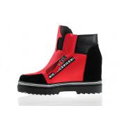 Sneakersy z Dwóch Materiałów Czerwone Madera
