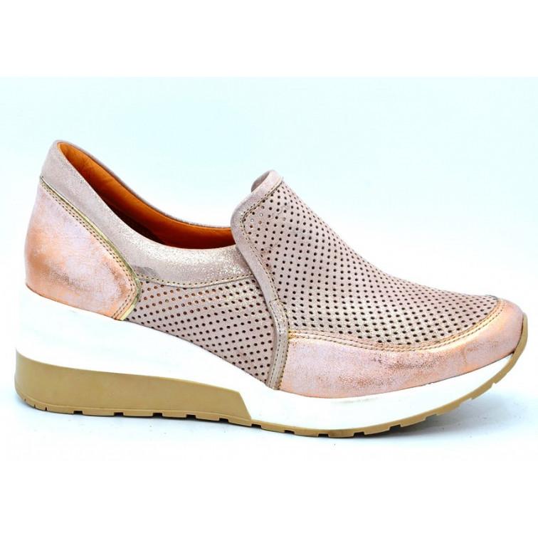 Sneakersy Ażurowe Skórzane Miedziane Natalee