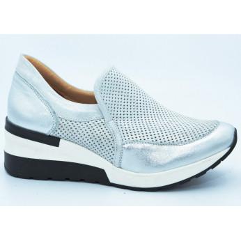 Sneakersy Skórzane Ażurowe Niebieskie Milena