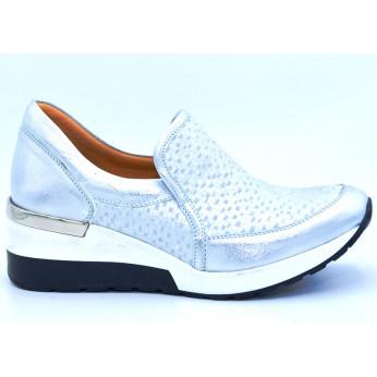 Sneakersy ze Wzorem Skórzane Niebieskie Lena