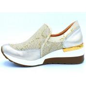 Sneakersy Ażurowe ze Wzorem Skórzane Złote Teen Spirit