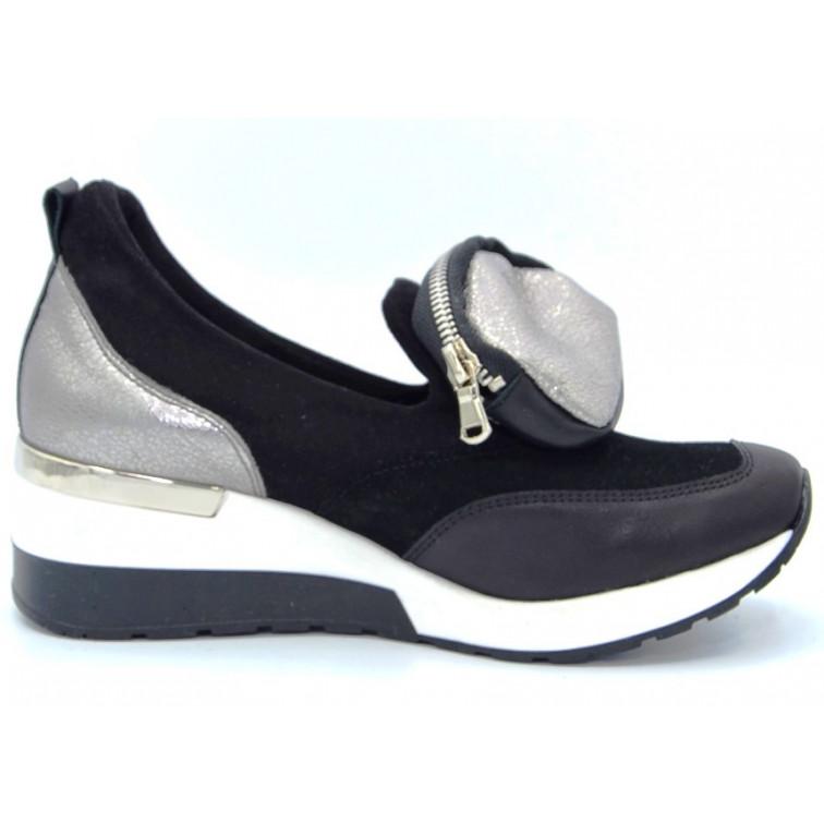 Sneakersy z Saszetką Skórzane Czarne Duvire