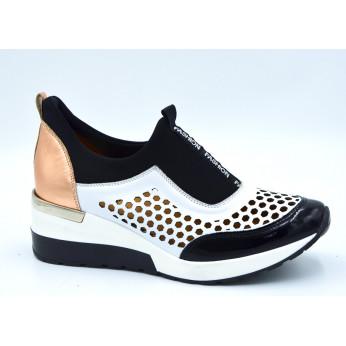 Sneakersy Ażurowe Skórzane Czarne Białe Fashion