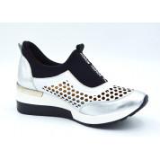 Sneakersy Ażurowe Skórzane Czarne Srebrne Fashion