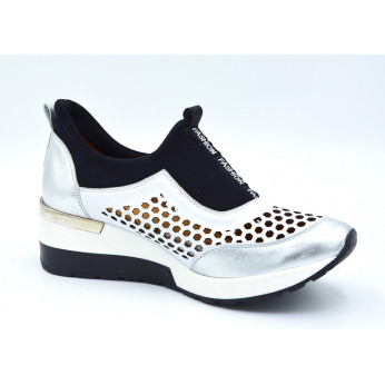 Sneakers Openwork Leather Black Silver Fashion