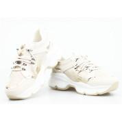 Sneakersy z Wężowymi Wstawkami Złote Beżowe Aladeen